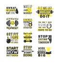 Sport motivation phrases vector.