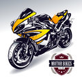 Sport motorbike with stylish club emblem vector illustration Royalty Free Stock Image