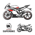 Sport Motorcycle with Helmet. Royalty Free Stock Photo