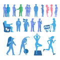Sport and physical inactivity set. Good and bad habits. Royalty Free Stock Photo
