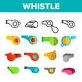 Sport Plastic Whistle Vector Color Icons Set