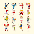 Sport player icons set cartoon vector illustration Royalty Free Stock Photo