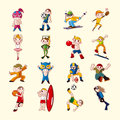 Sport player icons set cartoon vector illustration Stock Photography