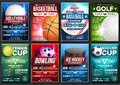 Sport Poster Set Vector. Basketball, Tennis, Soccer, Football, Golf, Baseball, Ice Hockey, Bowling. Vertical Design For