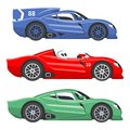 Sport race car vector speed automobile and offroad rally car colorful fast motor racing auto driver transport motorsport