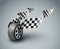 Sport racing wheel with flapping flags eps vector illustratio Royalty Free Stock Image