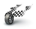 Sport racing wheel with flapping flags eps vector illustration on white background Royalty Free Stock Photo