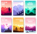Sport rest day vector brochure cards set. Tourism on nature template of flyear, magazines, poster, book cover, banner