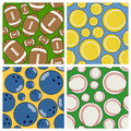 Sport seamless patterns set collection of four football tennis bowling and baseball useful also as design element for texture Stock Photography