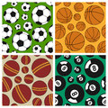 Sport seamless patterns set collection of four soccer basketball cricket and billiard useful also as design element for texture Stock Photos
