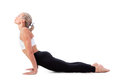 Sport series yoga downward facing dog position beautiful young woman doing Stock Image