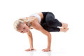 Sport series yoga sideways crow posture young beautiful woman doing Royalty Free Stock Photo