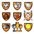 Sport set equipments ball, shuttlecock, puck in center of shield. Sport logo isolated on white