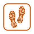 Speeding running sport shoe symbol, icon or logo. Label. Sneakers. Creative design. Vector illustration.
