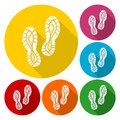 Sport shoe icons set with long shadow
