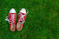 Sport shoes on grass background red Royalty Free Stock Photography
