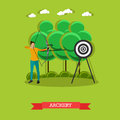 Sport shooting banner. Archery competition games vector illustration.
