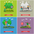 Sport shooting posters. Biathlon, gun shoot, archery competition games vector illustration.