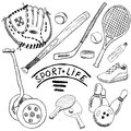 Sport sketch doodles elements hand drawn set with baseball bat and glove bowlong hokkey tennis items drawing doodle col collection Stock Image