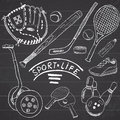 Sport sketch doodles elements hand drawn set with baseball bat and glove segway bowlong hokkey tennis items drawing doodle col Royalty Free Stock Photo