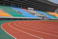 Sport stadium with running tracks Royalty Free Stock Photography