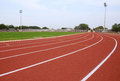 SPORT STADIUM WITH RUNNING TRACKS STRIP Royalty Free Stock Photo