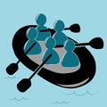 Sport team blue silhouettes of a doing extreme sports in the water Royalty Free Stock Photography