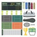 Sport tennis equipment vector fitness icon set illustration Royalty Free Stock Image