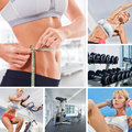 Sport theme mix healthy lifestyle collage composed of different images Royalty Free Stock Photos