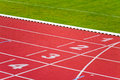 Sport track lanes numbers on in sports runway Stock Photography