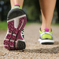 Sport training running jogging workout sole of shoes while or Royalty Free Stock Photos