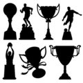 Sport Trophies Silhouettes Stock Photos