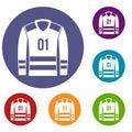 Sport uniform icons set