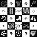 Sport wallpaper with equipments in black and white Stock Image