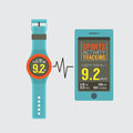 Sport watch with smartphone activity tracking synchronize illustration Royalty Free Stock Photography