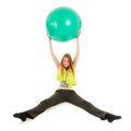 Sport woman with ball portrait for gymnastics isolated over white background Royalty Free Stock Photo