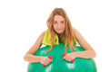 Sport woman with ball portrait for gymnastics isolated over white background Royalty Free Stock Image