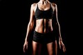 Sport woman body wearing black sportswear Royalty Free Stock Photography