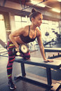 Sport woman in gym with weight Royalty Free Stock Photo