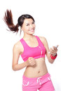 Sport woman happy running with music Stock Images