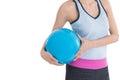 Sport Woman Holding Beach Ball...