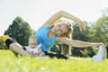 Sport woman outside baby a women doing some exercise with Royalty Free Stock Photography