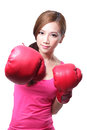 Sport young woman with boxing gloves face of fitness girl studio shot isolated over white background asian beauty Royalty Free Stock Images