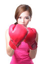 Sport young woman with boxing gloves face of fitness girl studio shot isolated over white background asian beauty Royalty Free Stock Photo