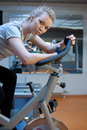 Sport young woman s portrait in gym Stock Image