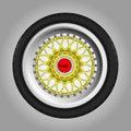 Sportcar wheel with a tire