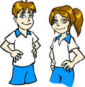 Sporting boy and girl Royalty Free Stock Photography