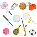 Sporting set of objects of sports equipment Royalty Free Stock Photos