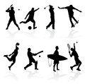 Sporting silhouettes illustration of various athletes in silhouette Royalty Free Stock Image