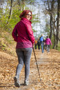 Sportive cute woman nordic walking autumn cross country mid aged female hiker resting whilst under the blue sky of the morning sun Stock Images